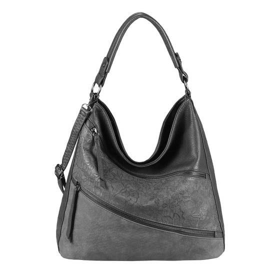 OBC Damen Tasche Blumen Shopper Tote Bag Handtasche Umhängetasche Schultertasche Beuteltasche Leder Optik Hobo Crossbody Grau 36x32x14 cm #bagpatterns
