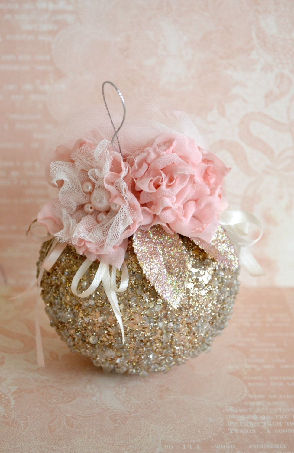 Beautiful Handmade Gold Sparkly Christmas Ornament with Fabric ...