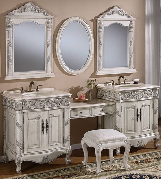 Item 7530 7pc Double Sink Bathroom Vanity Cabinet Set