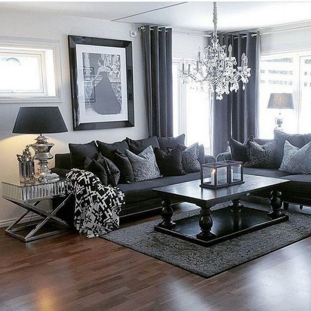 10 Great Ideas Of Living Room Contemporary Home Decors To Improve Easily Goodnewsarchitecture Dark Living Rooms Black Living Room Black Furniture Living Room