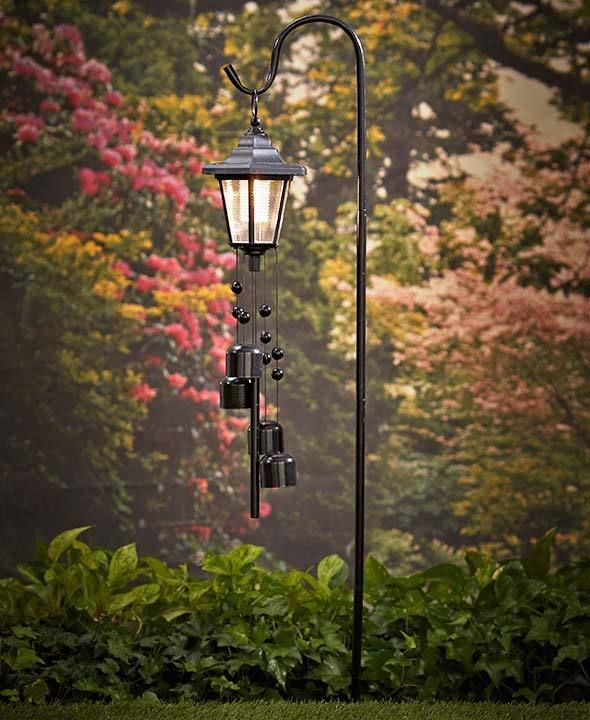 Tall Solar Lamp Post Shepherds Hook Lighted Lantern Wind Chime With Stake Black Unbranded