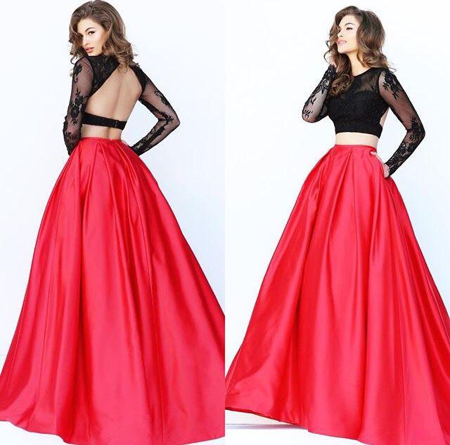 Sherri Hill Black Top And Red Long Skirt Style 50357 Long Skirt Fashion Dresses Backless Dress Formal