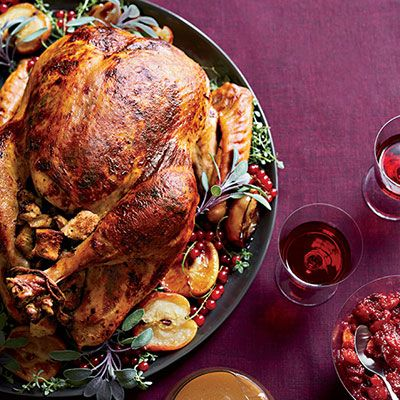 Roast Turkey With Chestnut Apple Stuffing Recipe Food