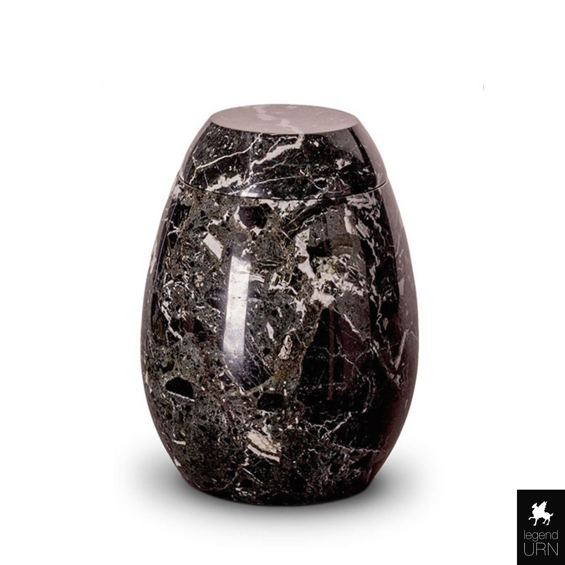 Marble funeral urn black and white legendURN Unique