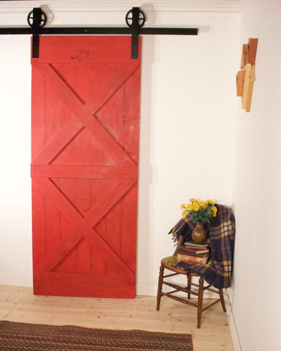 red sliding barn door. Rustic Red Sliding Barn Door Handmade