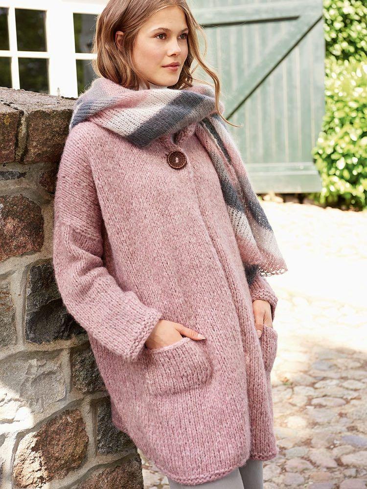 d6575213dc #Gratis #Strickanleitung DIY-Anleitung: Oversize Strickjacke in zartem Rosa  stricken / #free #knitpattern for oversize jacket via DaWanda.com