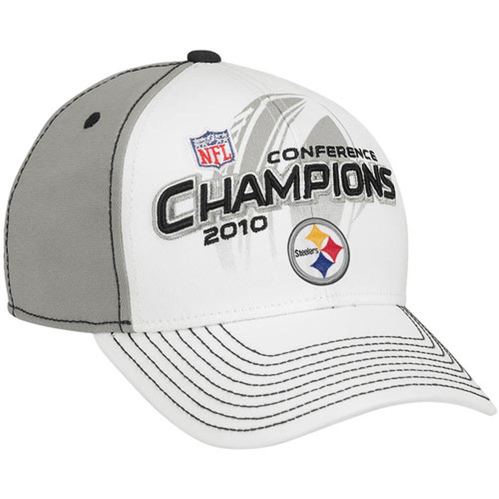 07f25ff58 Reebok Pittsburgh Steelers Gray-White 2010 AFC Champions Locker Room Flex  Hat