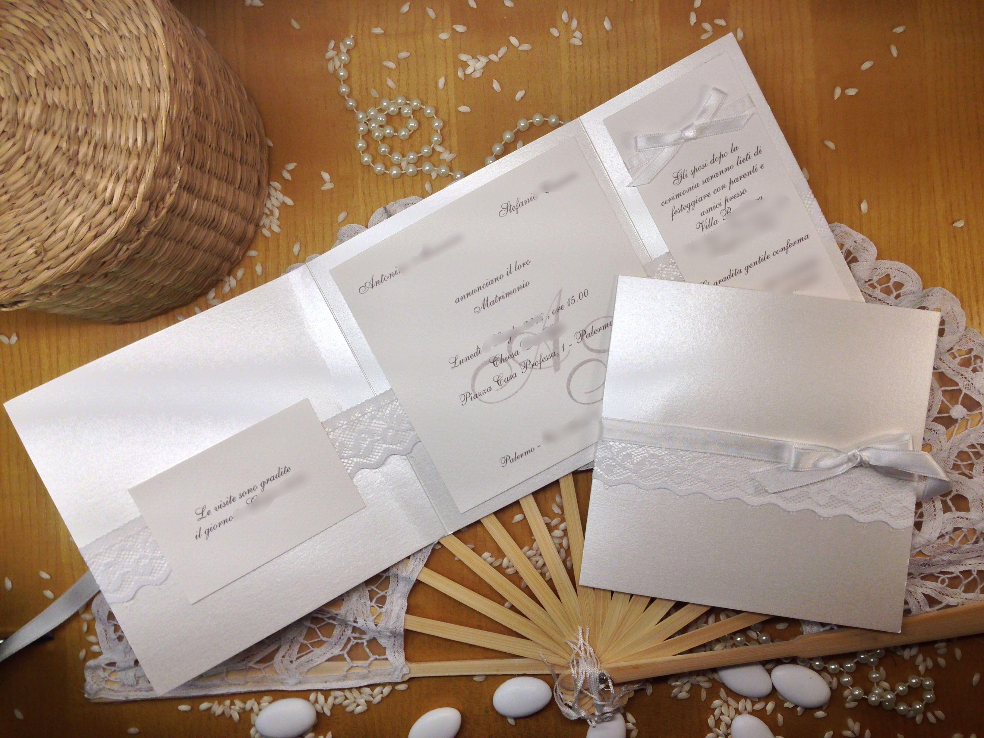 Segnaposto Matrimonio Total White.Partecipazione Matrimonio Total White Con Pizzo Lace Wedding White