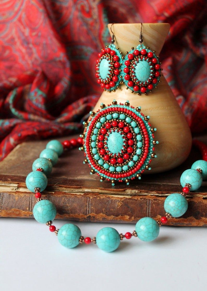 Turquoise Red Earrings Ethnic Earrings Turquoise Dangle Earrings Bead embroidery Earrings Cabochon Earrings Tribal Jewelry MADE TO ORDER