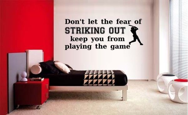 Fear Of Striking Out Baseball Lettering Vinyl Wall Decal Quotes Sticker Sports