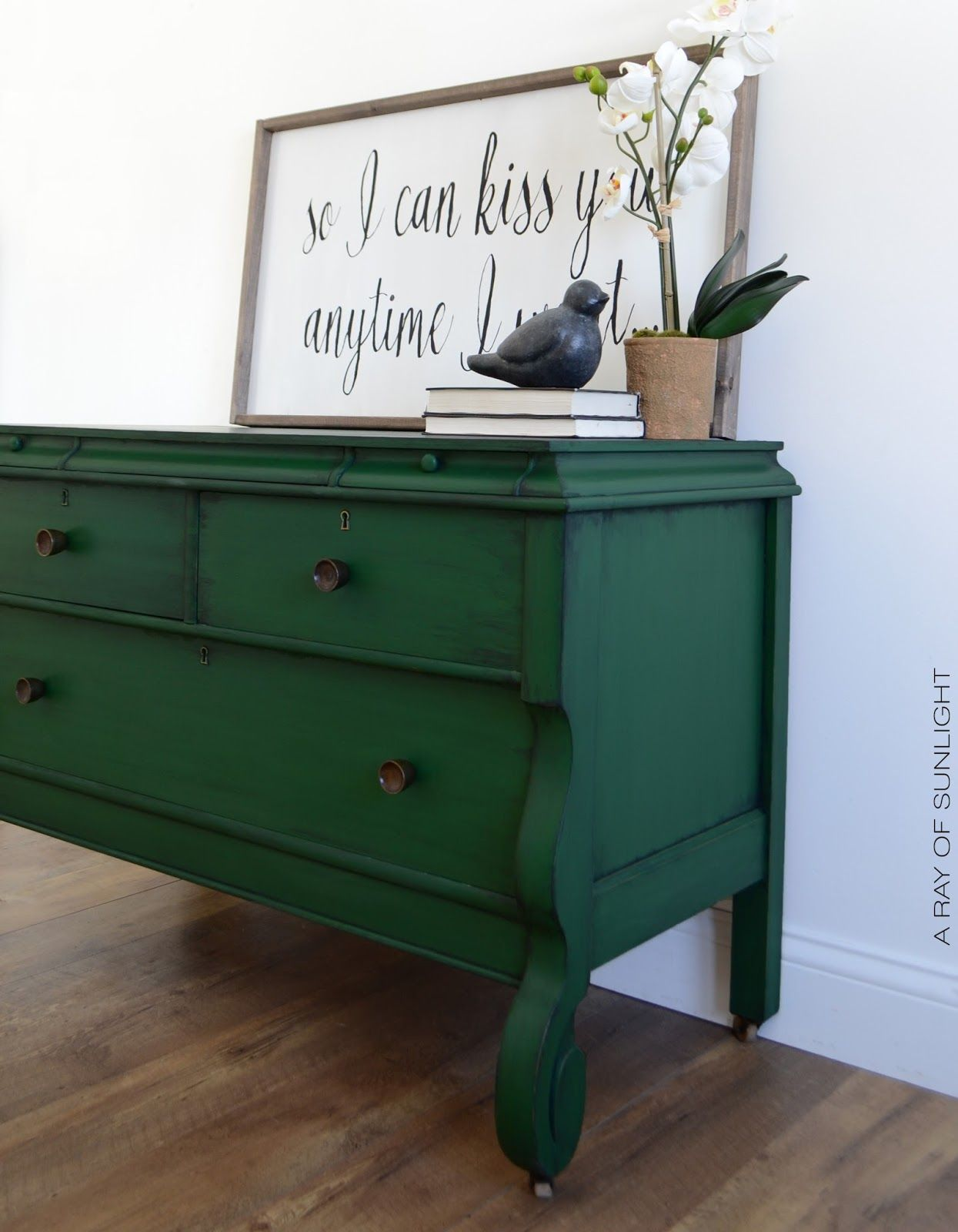 Green Empire Dresser Painted Furniture Redo Furniture Furniture Makeover [ 1600 x 1245 Pixel ]