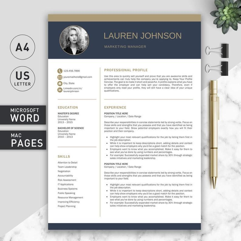 Resume Template for Word and Pages / Professional Resume