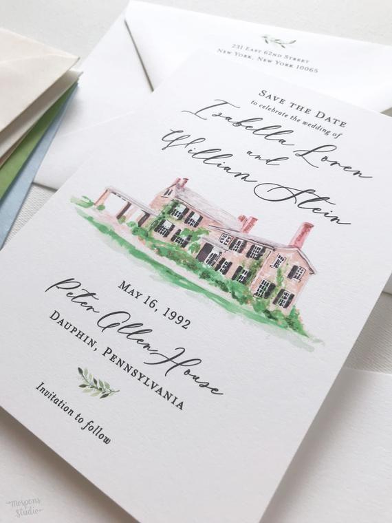 Lana - Modern Greenery Save the Date, Printable Save the Dates, Instant Download Save the Dates, Gre -   15 wedding Card watercolor ideas
