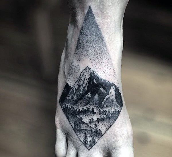 Geometric Nature Scene Black Ink Forest On Foot On Male