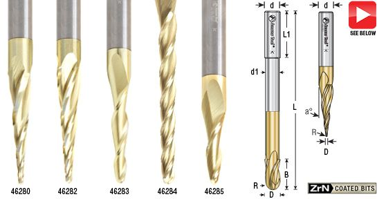 Solid Carbide 2d And 3d Carving Tapered Ball Nose Conical Ball