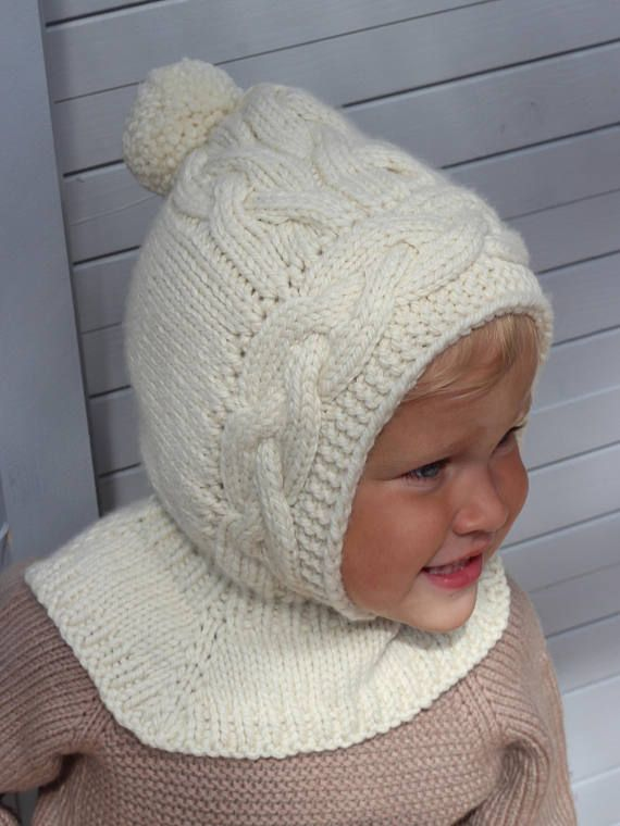 Hand knitted baby Pixie Hat with Collar   Hat and scarf all in ... d62f1260855f