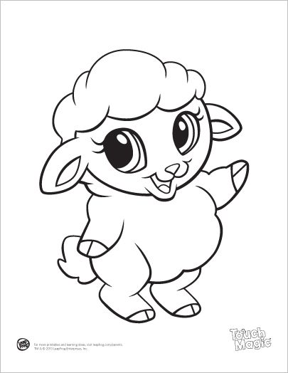 learning friends sheep baby animal coloring printable from leapfrog the learning friends. Black Bedroom Furniture Sets. Home Design Ideas