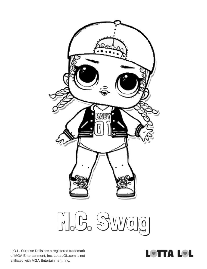 MC Swag Coloring Page Lotta LOL