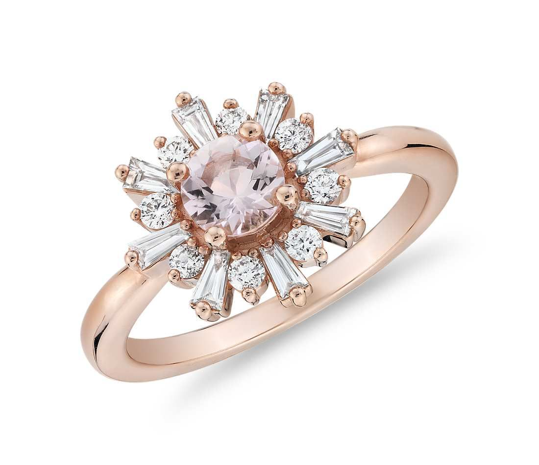 Ring with Baguette Diamond Halo in 14k Rose Gold