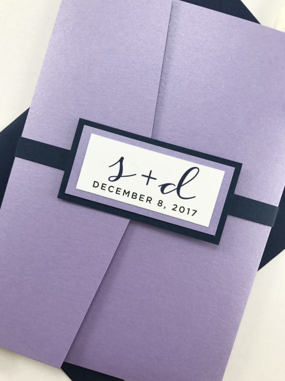 Lavender And Navy Pocket Invitation Lilac And By Kimkimdesigns