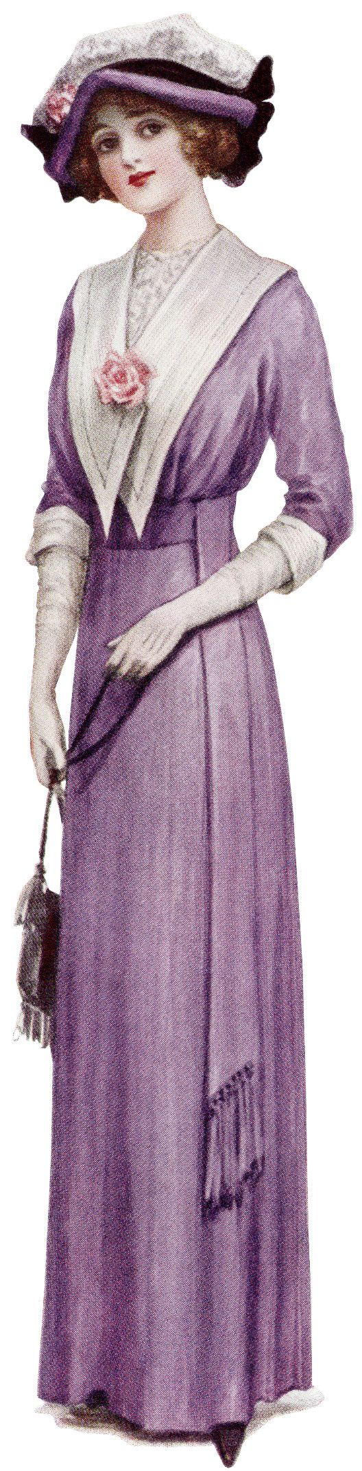 Ca 1900 Lady Purple Dress Ephemera Vintage Purple Dress Vintage Ladies Womens Fashion Vintage [ 2141 x 528 Pixel ]