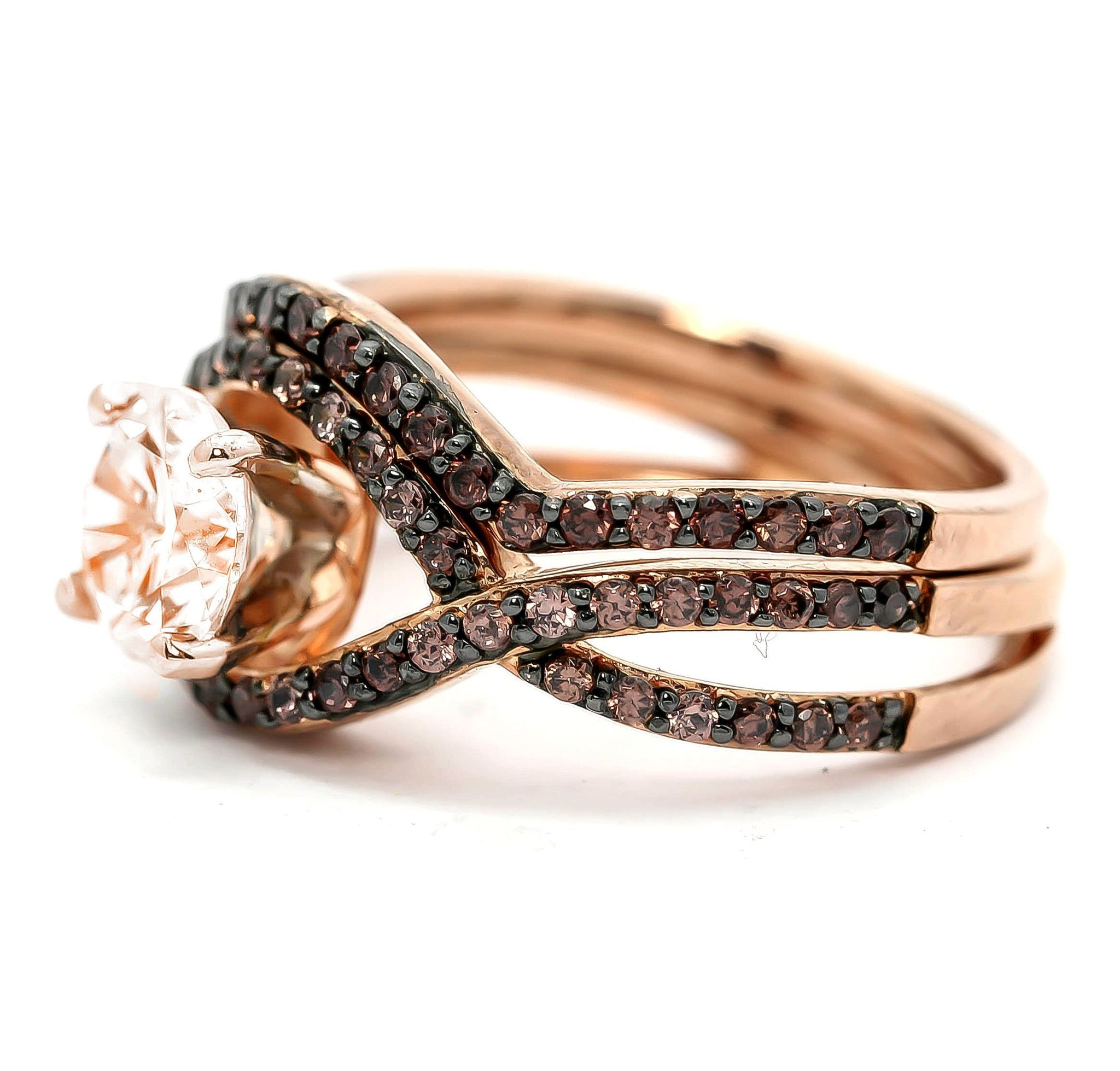 unique infinity ring, engagement / wedding set, rose gold