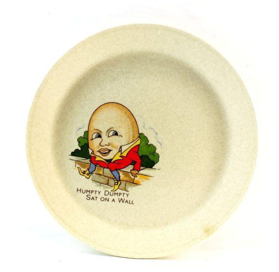 Humpty Dumpty Side Plate Johnson Of Australia Humpty Dumpty Childrens Dishes Baby Dishes
