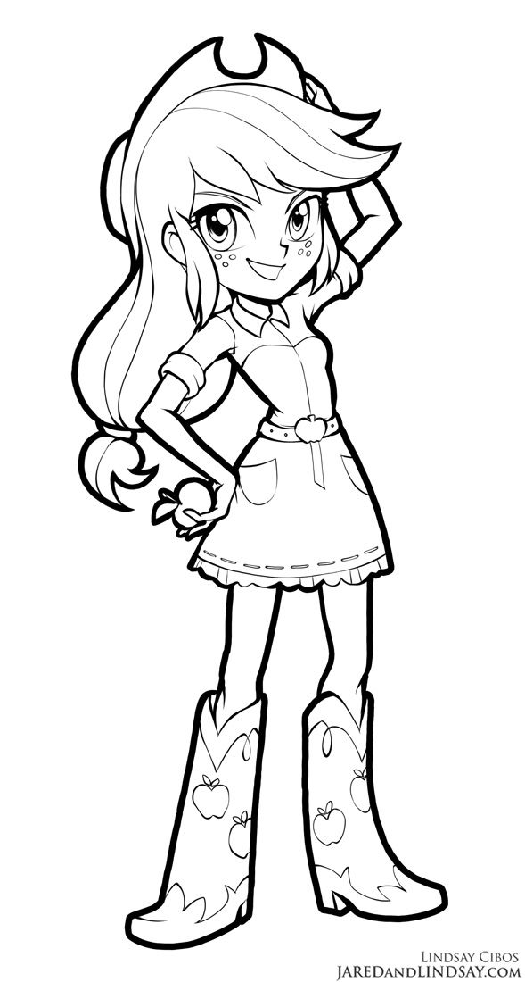 AJ  Equestria Girls is part of My little pony coloring - Time to share some more of the pony art I've been working on the last couple of months  Here's AJ!  You can find my pony howto draw, colo    AJ  Equestria Girls