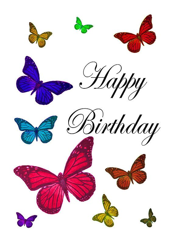 Birthday Butterflies Happy Birthday Pinterest – Butterfly Birthday Card
