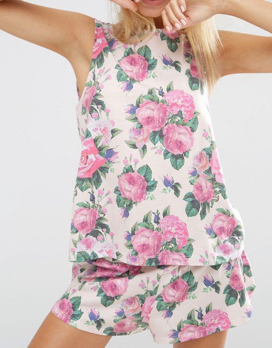 Image 3 of ASOS Pretty Floral Vest   Short Pyjama Set Floral Vests 94373dff8