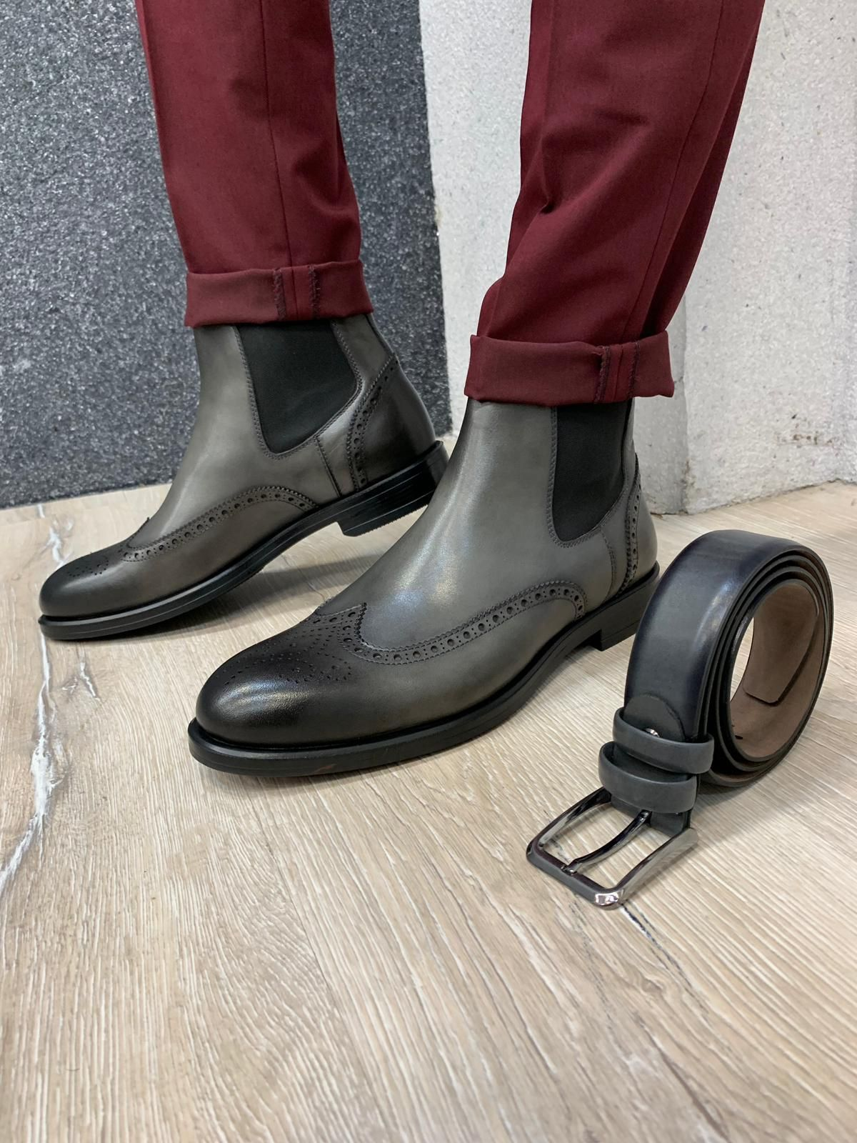 Ade Gray Wingtip Chelsea Boots in 2020   Rubber shoes ...