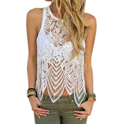 Women Summer Sexy Lace Halter Neck Top Solid Sleeveless T Shirt by Vovotrade NBsWvdNa