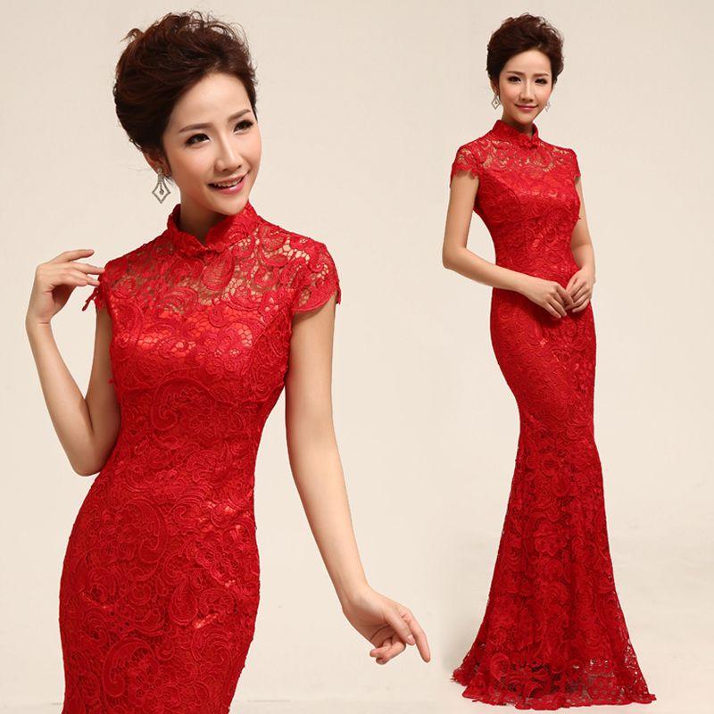 Cheongsam Married Long Design Red Evening Dress The Bride Married