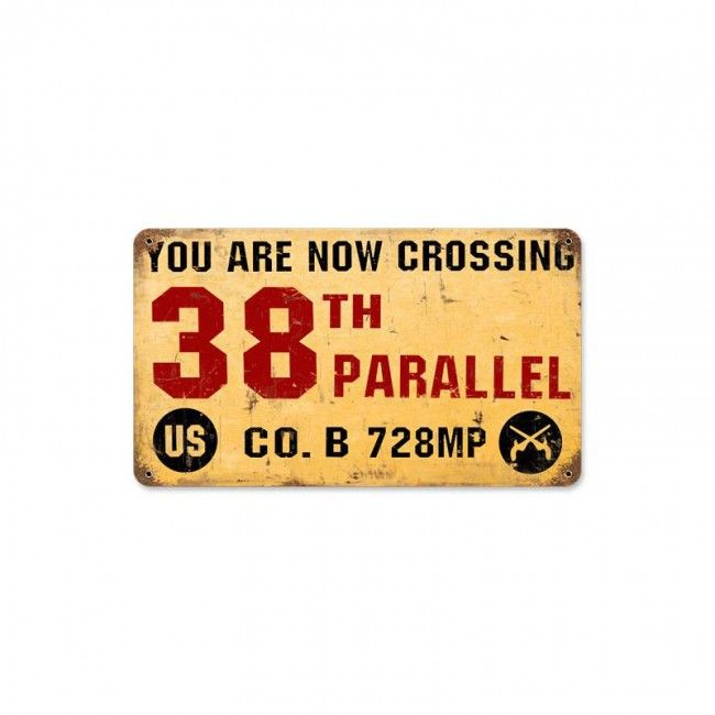 38th Parallel Metal Wall Sign 14x8 Us History Vintage Metal - 38th-parallel-us-map