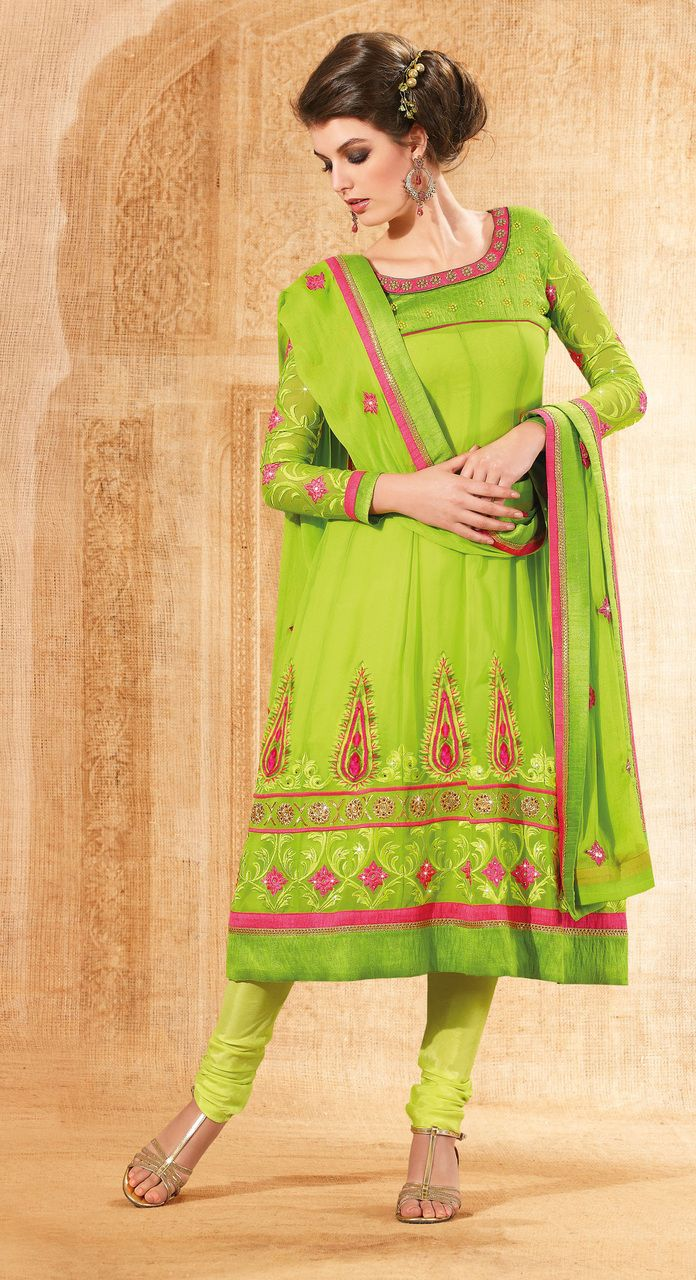 Green Color Georgette & Santton based Semi Stitch Dress Material - JustKartIt
