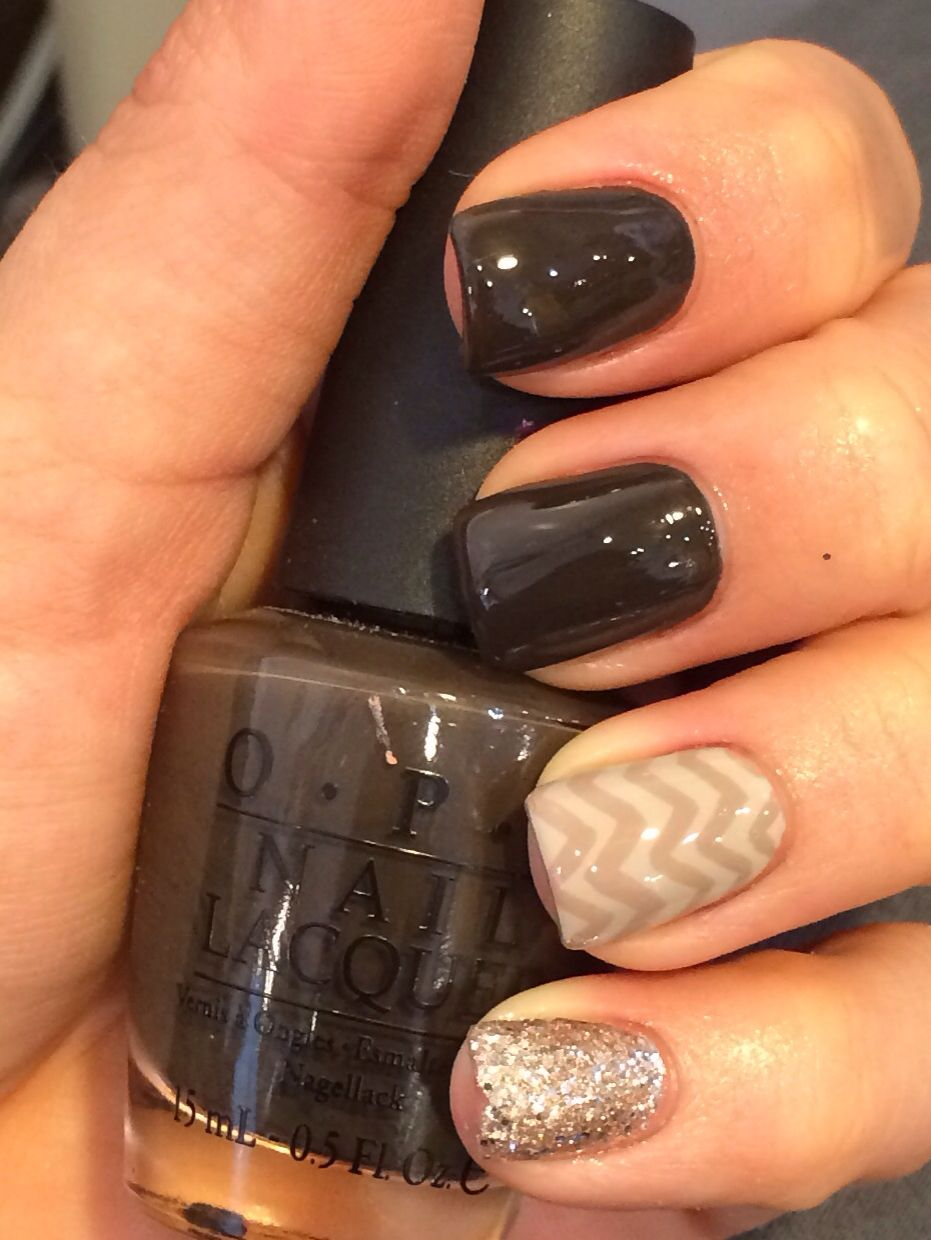 Fall Nails OPI Get in the Expresso Lane with chevron and gold ...