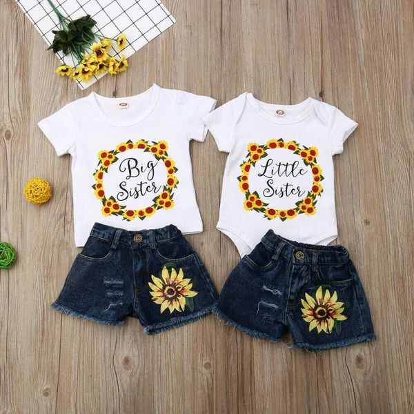 Matching Big Sister Little Sister Sunflower Denim Outfits Fashion Baby Girl Outfits Big Sister Outfits Baby Girl Clothes
