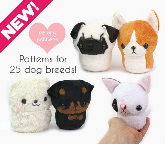 Plush Sewing Pattern Pdf Kawaii Dog Stuffed Animal With Video Etsy Sewing Stuffed Animals Animal Sewing Patterns Dog Sewing Patterns