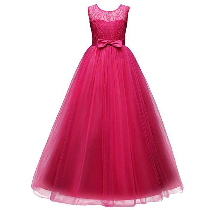 IWEMEK Mädchen Kinder Mit Kleider Blumenmädchenkleider ...