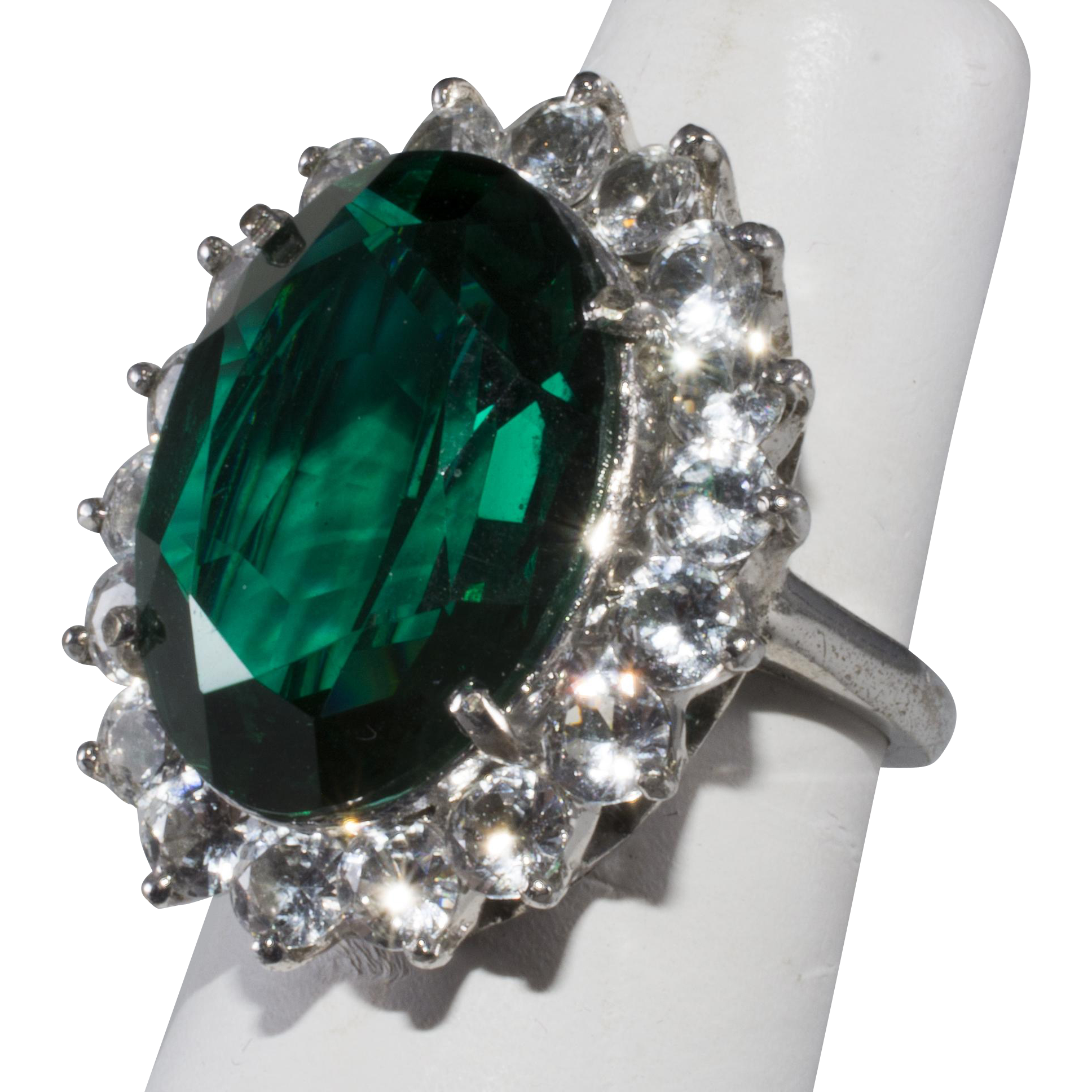e5e17969360d6 DuJay Sterling Silver Emerald Rhinestone Cocktail Ring Vintage ...