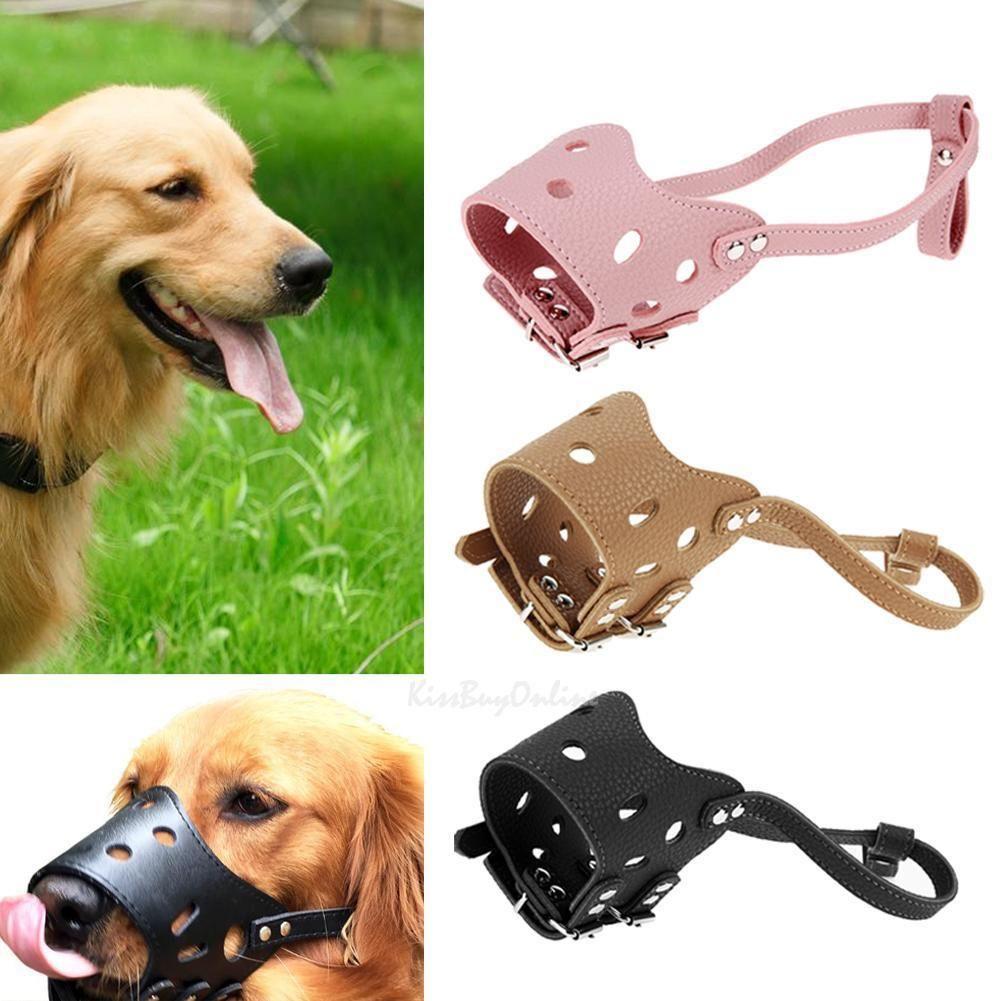 3 5 Adjustable Training Leather Dog Mouth Muzzle Anti Stop Bite