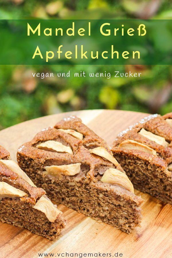 Rezept: Saftiger Mandel Grieß Apfelkuchen mit wenig Zucker – vegan #easypierecipes