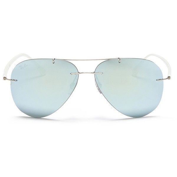 aadfcaa5451 Ray-Ban  RB8058 LightRay  rimless mirror aviator sunglasses ( 251) ❤ liked