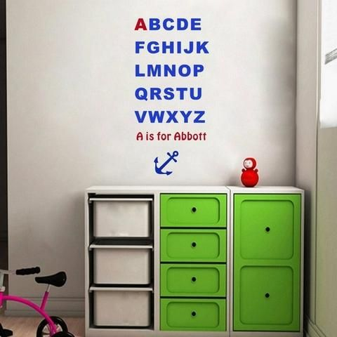 Custom made kids name alphabet wall stickers letters wall decals for kids room decoration personalized children room decor pinterest alphabet wall