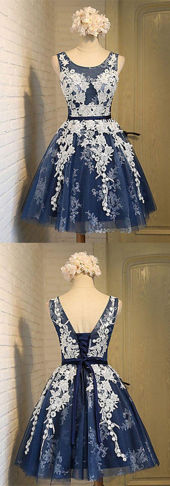 Aline scoop appliques dark blue homecoming dress in