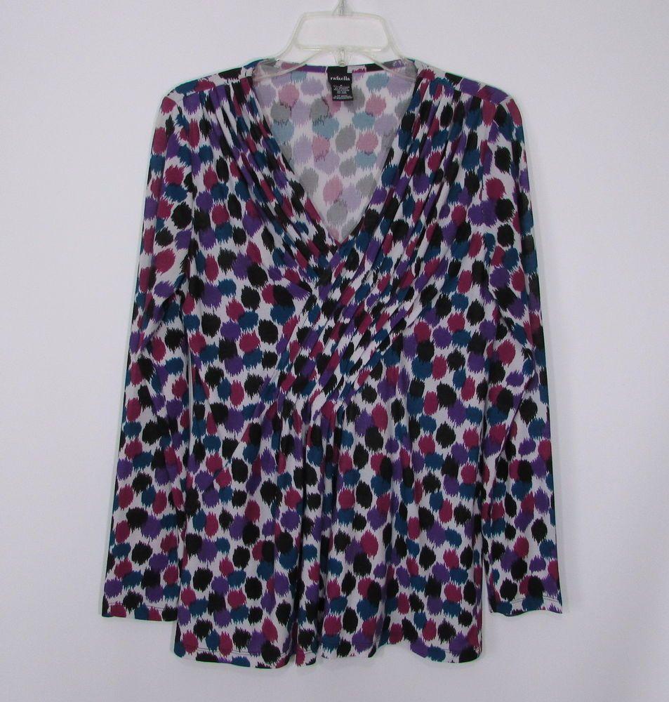 8c4ff263985 Womens RAFAELLA Purple Black Blue Abstract Dot Pleated Stretch Knit Top Size  M #Rafaella #Blouse #CareerCasual