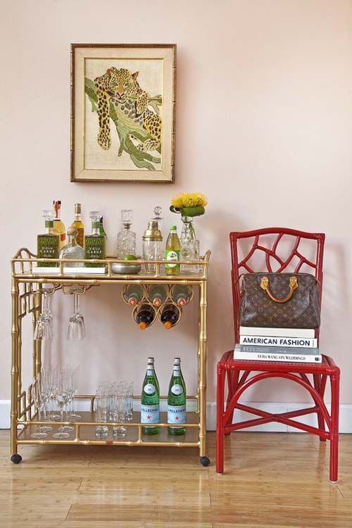 Bar Cart With Fun Accent Chair On Empty Wall In Dining Room Needs A Lamp