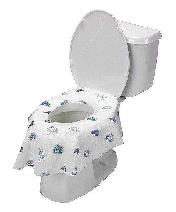 Look At This Potty Shield Blue White Disposable Toilet Seat