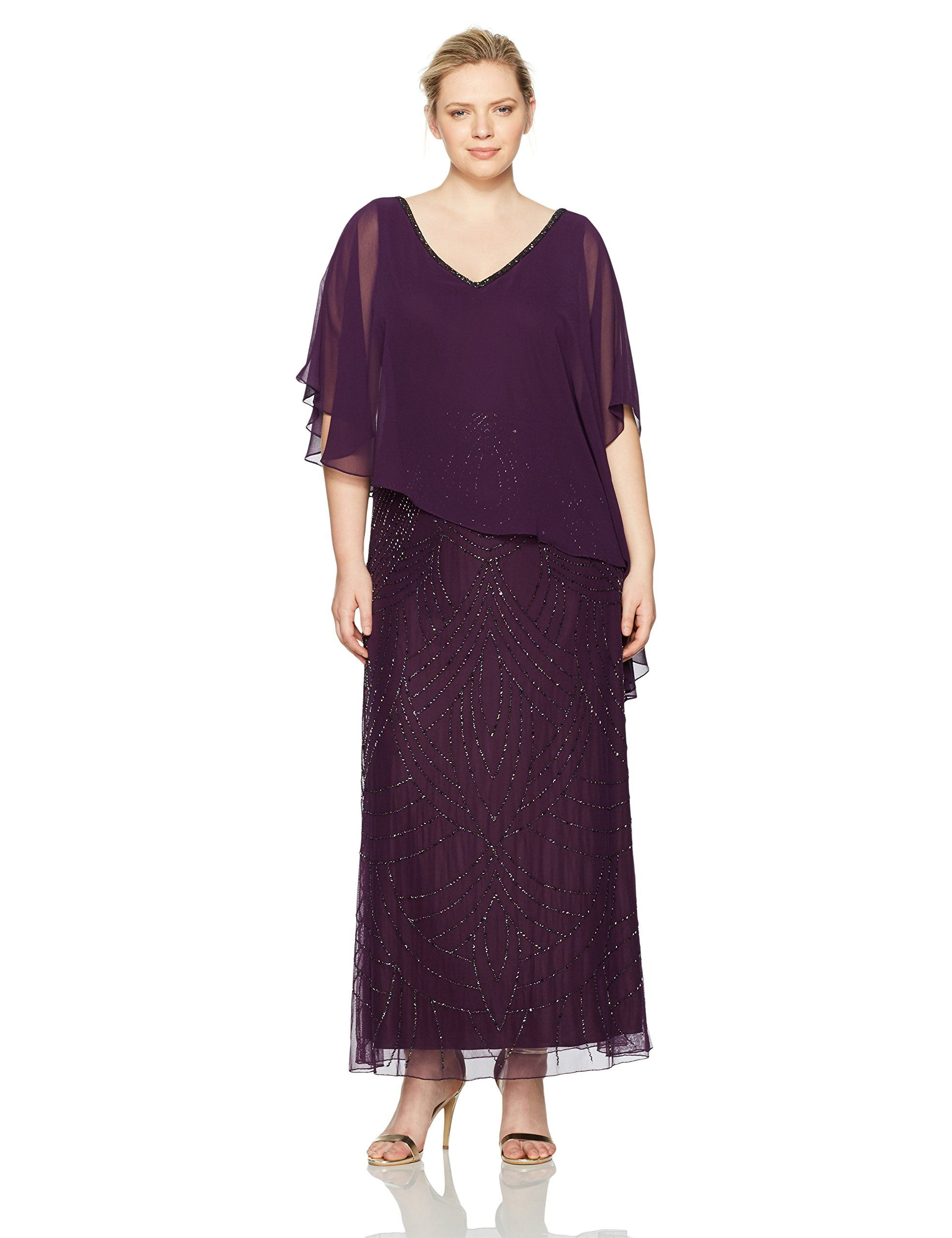 c369d4ac37a J Kara Womens Plus Size Pop Over Dress with Beaded Bottom Plum Wine Shaded  22W   Read more at the image link-affiliate link.  dresses