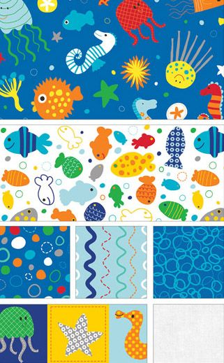 In The Ocean by Lesley Grainger for Riley Blake Designs Available at tillalilifabrics.etsy.com